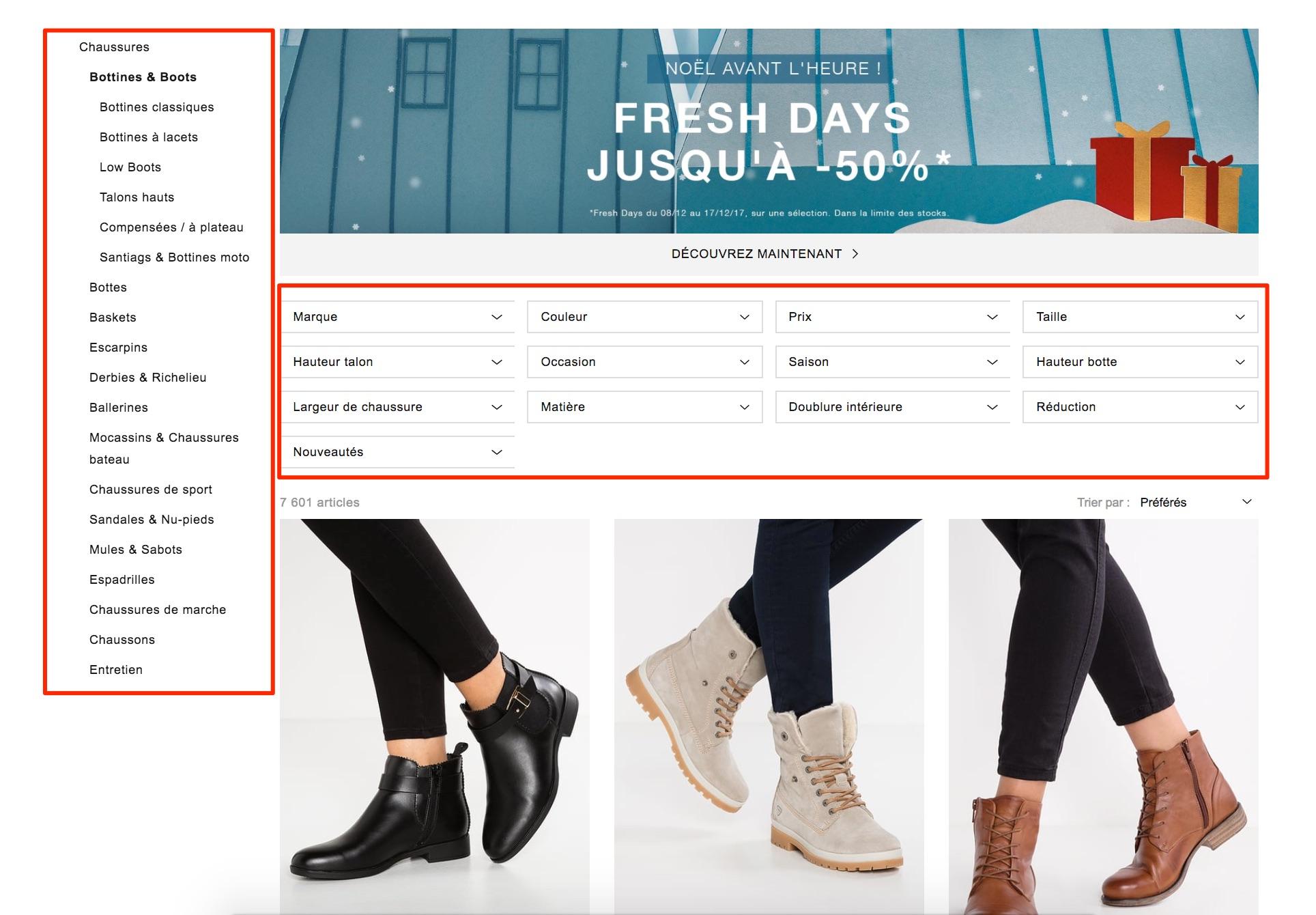 Boots Bottines Femme Zalando e-commerce seo guide smartkeyword