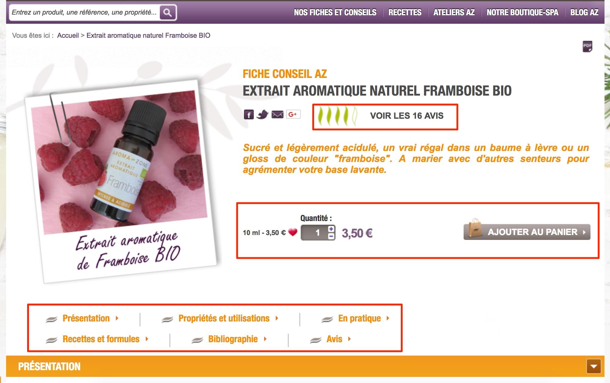aroma zone fiche produit e-sommerce seo guide smartkeyword
